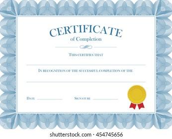 Certificate Diploma Vector Template