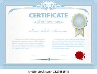 Certificate or diploma vintage style and design template with retro frame or ancient border. vector illustration