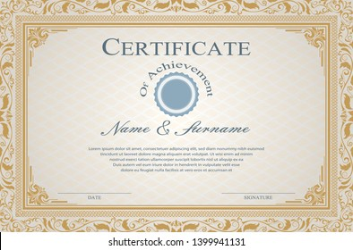 Certificate or diploma vintage style and retro design template vector illustration