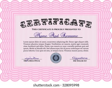 Certificate. Easy to print. Border, frame.Sophisticated design.