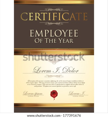 certificate employee year stock vector royalty free 177391676
