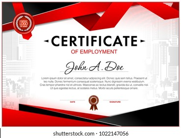 Certificate of employment template. Geometrical simple shapes and black and red color design