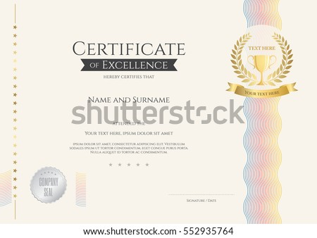 certificate of excellence template with colorful wave and gold trophy