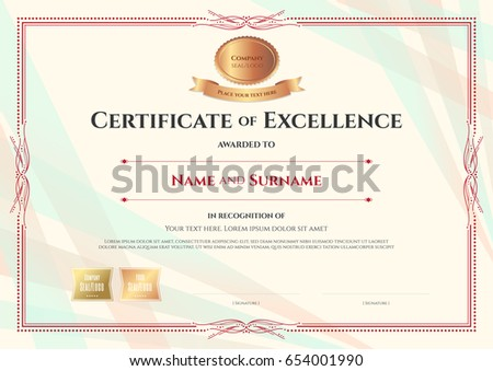 certificate of excellence template on abstract ribbon background with vintage border style - Free Certificate Of Excellence Template