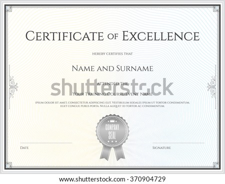 certificate of excellence template in vector for achievement graduation completion - Free Certificate Of Excellence Template