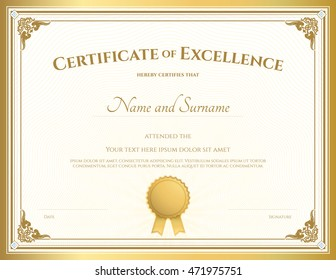 Certificate of excellence stock images royalty free images certificate of excellence template with vintage gold border yadclub Choice Image