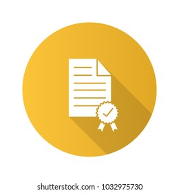 Certificate flat design long shadow glyph icon. Document with seal and ribbon. Vector silhouette illustration