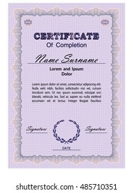 Certificate form template with guilloche background and guilloche elements. Vector illustration