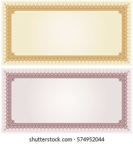 Certificate gift coupon card blank template border frame background in gold and silver color versions vector illustration