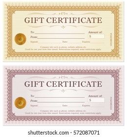 Certificate gift coupon template in gold and silver color versions vector