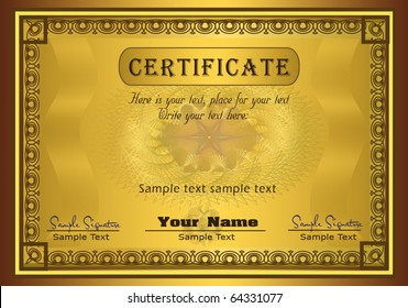 Certificate gold, frame vector template