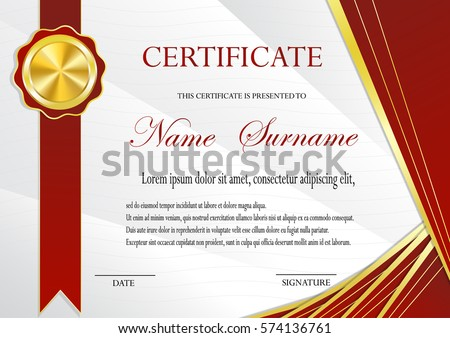 Certificate Gold Medal Template Fashionable Modern Stock Vector