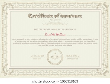 certificate health insurance medicine. full coverage. Certificate of Appreciation template. Classical style. Retro design. Vector illustration