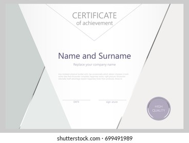 Certificate of the highest quality. Stylish certificate in pastel colors