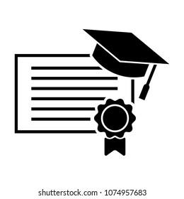 certificate icon - award symbol. certificate design and diploma black web icon. vector illustration