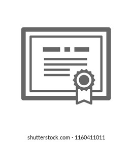 Certificate icon. Diploma of gift certificate. Vector illustration.