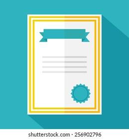 Certificate icon. Flat design. Vector illustration