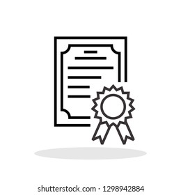 Certificate icon in flat style. Achievement / Award / Grant symbol for your web site design, logo, app, UI Vector EPS 10.
