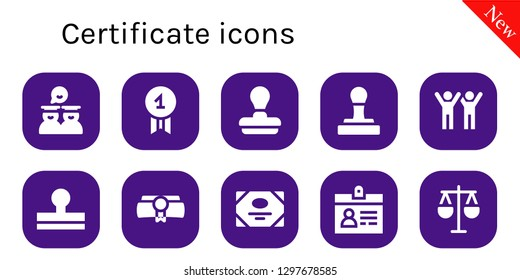 certificate icon set. 10 filled certificate icons. Simple modern icons about  - Graduates, Quality, Stamp, Success, Diploma, Certificate, Accreditation, Law