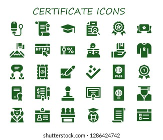 certificate icon set. 30 filled certificate icons. Simple modern icons about  - Tampon, Certificate, Graduation, Curriculum, Winner, Banner, Achievement, Https, Gift voucher