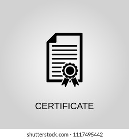 Certificate icon. Certificate symbol. Flat design. Stock - Vector illustration