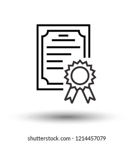 Certificate icon in trendy flat style. Achievement, diploma concept. Vector Illustration EPS 10.