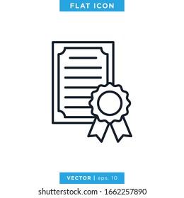 Certificate Icon Vector Design Template. Editable Stroke