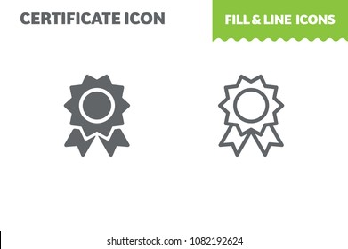 Certificate icon, vector. Fill and line. Flat design. Ui icon