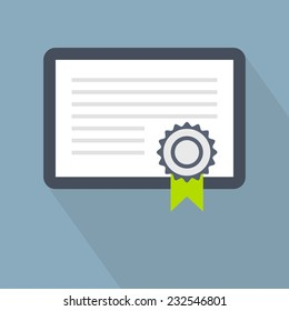 Certificate icon. Vector illustration. Flat certificate icon for application