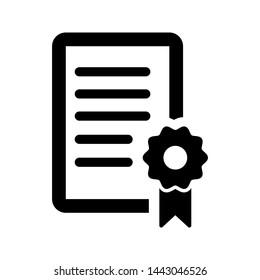 Certificate icon vector. License badge vector illustration symbol. Winner medal logo.