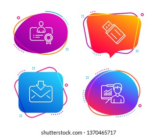 Certificate, Incoming mail and Usb flash icons simple set. Presentation sign. Best employee, Download message, Memory stick. Education board. Education set. Speech bubble certificate icon. Vector