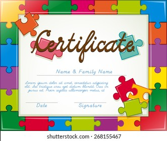 Certificate with jigsaw puzzle frame