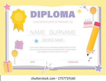 Certificate for kids with colourful stationery and decorations, kindergarten graduation certificates background design templates