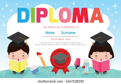 Certificate kids diploma, kindergarten template layout space background frame design vector. Preschool Kids Diploma,Certificate of children diploma, education preschool concept. Vector Illustration