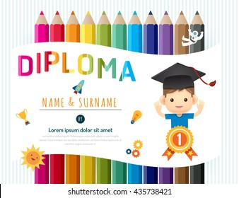 Certificate kids diploma, kindergarten template layout pencil background frame design vector. education preschool concept flat art style