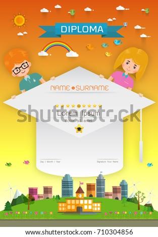 certificate kids diploma kindergarten template layout stock vector