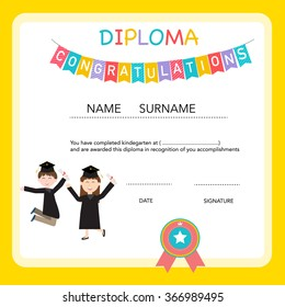 Preschool graduation images stock photos vectors shutterstock certificate of kids diploma preschoolkindergarten template background vector illustration eps10 yelopaper Choice Image