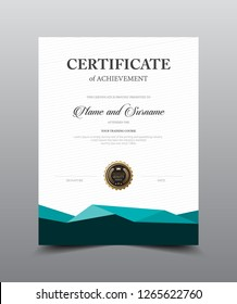 Certificate layout template design. Luxury and Modern style, vector illustration artwork.