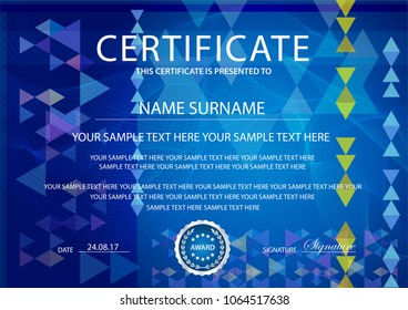 Certificate with light background. Design template with blue guilloche, abstract pattern (fine lines) watermark. Background useful for Diploma, business education award