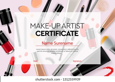 Certificate makeup artist, education, makeup school, vector illustration.