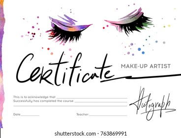 Certificate for the make-up artist with the image of eyelashes and shadows.