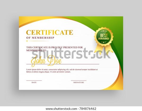 Certificate Membership Badge On Golden Green Royalty Free