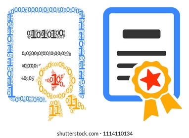 Certificate mosaic icon of zero and null digits in variable sizes. Vector digital symbols are united into certificate composition design concept.