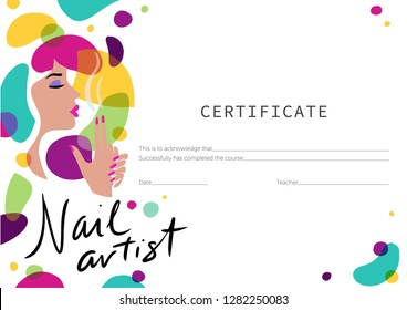 Certificate for the nail master. Training manicure.