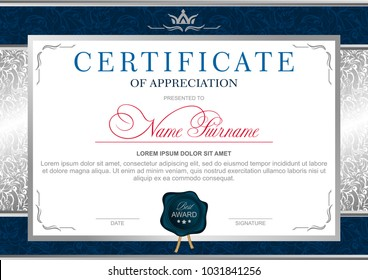 Certificate in the official, solemn, elegant, Royal style in blue and silver tones, with the image of the crown and blue wax seal (horizontal format)