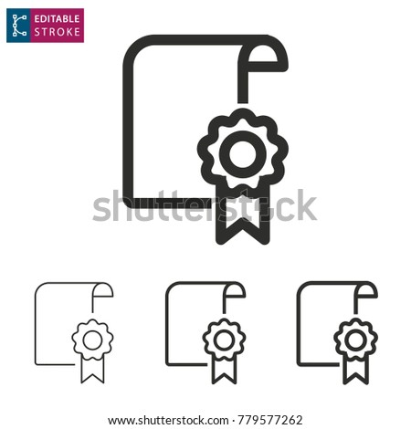 certificate outline icon on white background stock vector royalty