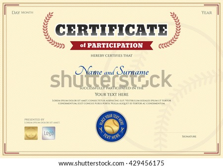 certificate of participation template in baseball sport theme with award wreath