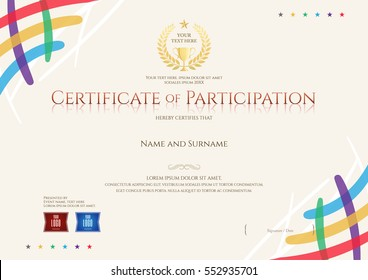 Certificate of participation template with colorful corner and trophy