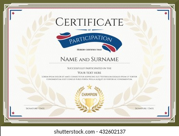 Certificate of participation template with green border, gold trophy, champion wreath