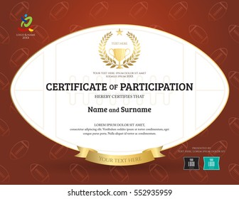 Certificate of participation template in sport theme with rugby ball shape and background